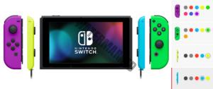 A virtual rendering of Nintendo's Joy-Con color combinations.