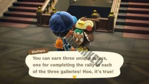 Blathers teasing that the player will be rewarded for participating in the stamp rally.