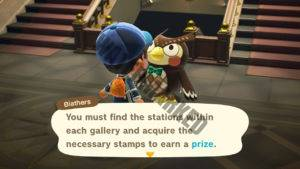 Blathers further explains the Stamp Rally event.