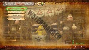 The Smithy menu in Hyrule Warriors