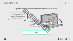 A depiction of a properly connected Switch Dock.