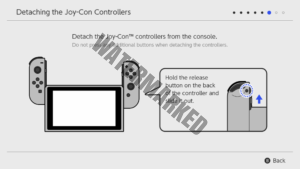 An on-screen prompt showing users how to detach the Joy-Con from the Switch.