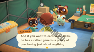 Tom Nook explaining that Timmy, a nookling, will buy anything a player has to sell.