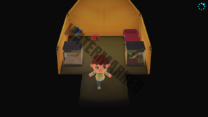 A villager having placed two critters in their tent.