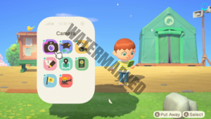 The player villager checking their NookPhone.
