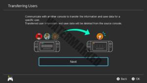The User Transfer Menu, an older but still usable method of save data transfer.