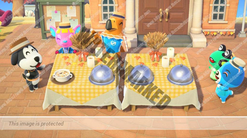 Island residents excitedly clap over the prepared Thanksgiving feast.